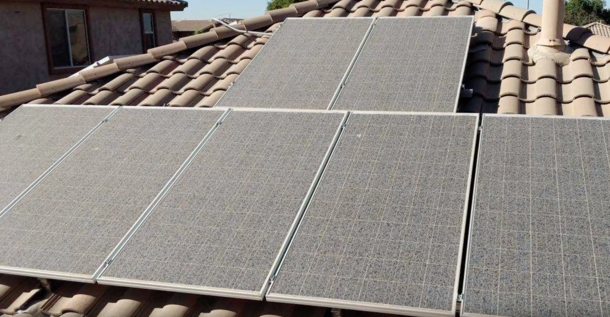 solar panels before cleaning